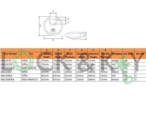 ABUS 26//70mm Diskus Padlock ABU2670