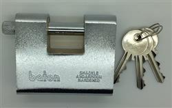 <b>Baton 80mm armoured sliding shackle padlock</b>