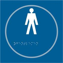 ASEC `Gents` 150mm x 150mm Taktyle (Braille) Self Adhesive Sign