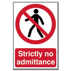 ASEC `Strictly No Admittance` Sign 200mm x 300mm
