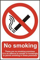 ASEC `No Smoking` 200mm x 300mm PVC Self Adhesive Sign