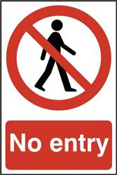 ASEC `No Entry` 200mm x 300mm PVC Self Adhesive Sign