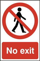 ASEC `No Exit` 200mm x 300mm PVC Self Adhesive Sign