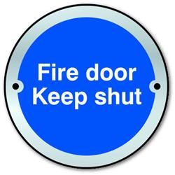 ASEC `Fire door Keep shut` Disc Sign 75mm