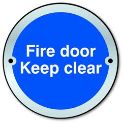 ASEC `Fire door Keep clear` Sign 75mm