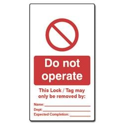 ASEC Double Sided Lockout Tagout Tags `Do Not Operate`