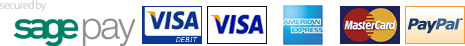 Secured by sage pay, Visa Debit, Visa, American Express, Mastercard, Paypal